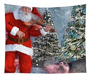 Holiday Hippo Dancing Cheer Tapestry