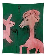 Horse And A Rabbit Tapestry