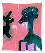 Horse And Rabbit On Pink Tapestry