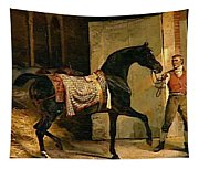 Horse Leaving A Stable Tapestry
