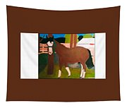Horse On A Ranch Tapestry