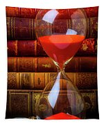 Hourglass And Old Books Tapestry