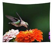 Hummingbird In Flight With Orange Zinnia Flower Tapestry