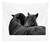 I Just Need A Hug. The Black Pony Bw Transparent Tapestry