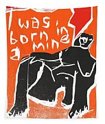 I Was Born In A Mine Woodcut 55 Tapestry