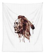 Indian Warrior Sepia Tones Tapestry