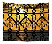 Iron Lattice Pattern St Malo Sunset Tapestry