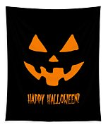 Jackolantern Happy Halloween Pumpkin Tapestry