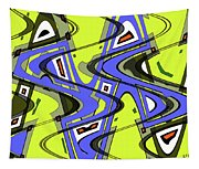 Janca Yellow And Blue Wave Abstract, Tapestry
