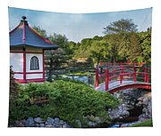 Japanese Garden #2 - Pagoda And Red Bridge Tapestry