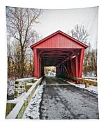 Jericho Covered Bridge Snow Tapestry