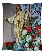 Jesus Christ With Flowers Tapestry