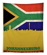 Johannesburg South Africa World City Flag Skyline Tapestry