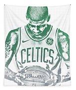 Kyrie Irving Boston Celtics Water Color Pixel Art 30 Tapestry