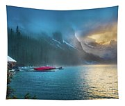 Lake Louise Canoes In The Morning Tapestry