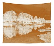 Lake Reflections In Brown Tapestry
