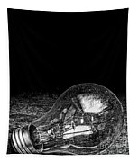 Lightbulb Black And White Tapestry
