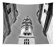 Looking Up - City Hall Court Yard In Black And White Tapestry