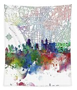 Los Angeles Skyline Map Watercolor 3 Tapestry