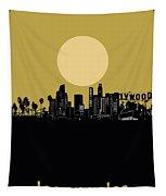 Los Angeles Skyline Minimalism Yellow Tapestry