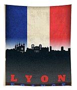 Lyon France City Skyline Flag Tapestry
