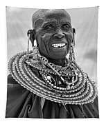 Maasai Woman In Black And White Tapestry