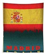 Madrid Spain City Skyline Flag Tapestry