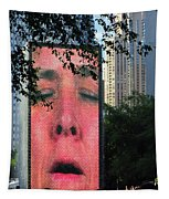 Man Face Crown Fountain Chicago Tapestry