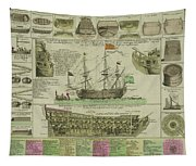Man Of War Ship Diagram - German - 18th Century Tapestry