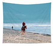 Man Riding On A Brown Galloping Horse On Ayia Erini Beach In Cyp Tapestry