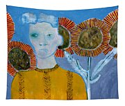 Man With Sunflowers Tapestry