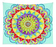 Mandala Of Many Colors On Turquoise Tapestry