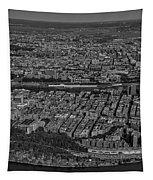Manhattan Bronx Nyc Aerial Bw Tapestry by Susan Candelario