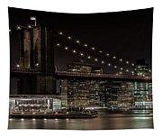 Manhattan Skyline And Brooklyn Bridge Idyllic Nightscape - Panoramic Tapestry