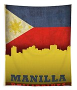 Manilla Philippines City Skyline Flag Tapestry