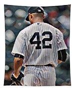 Mariano Rivera  New York Yankees Abstract Art 1 Tapestry