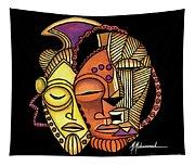 Maruvian Masks 2 Black Tapestry