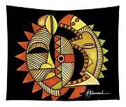 Maruvian Masks 3 Black Tapestry