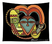 Maruvian Masks 5 Black Tapestry