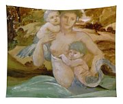 Mermaid With Her Offspring Tapestry
