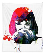 Mia Snorting Watercolor Tapestry