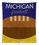 Michigan Football Minimalist Retro Sports Poster Series 001 Tapestry