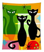 Mid Century Modern Abstract Mcm Bowling Alley Cats 20190113 Square Tapestry
