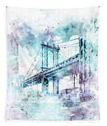 Modern Art Nyc Manhattan Bridge - Jazzy Watercolor Tapestry