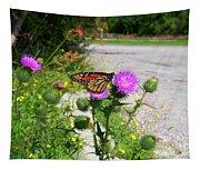 Monarch Butterfly Danaus Plexippus On A Thistle Tapestry