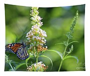 Monarch On White Butterfly Bush Tapestry