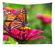 Monarch Visiting Zinnia Tapestry