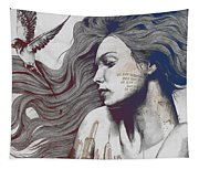 Monument - Red 'n Blue - Sleeping Beauty, Woman With Skyline Tattoo And Bird Tapestry