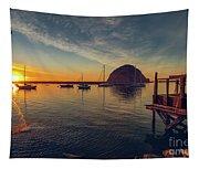 Morro Bay Harbor Sunset Tapestry