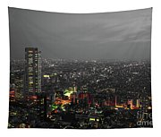 Mostly Black And White Tokyo Skyline At Night With Vibrant Selective Colors Tapestry